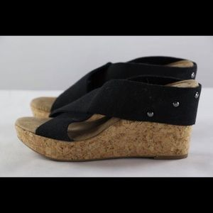 Merona Black Cork Wedge Sandal Size 8